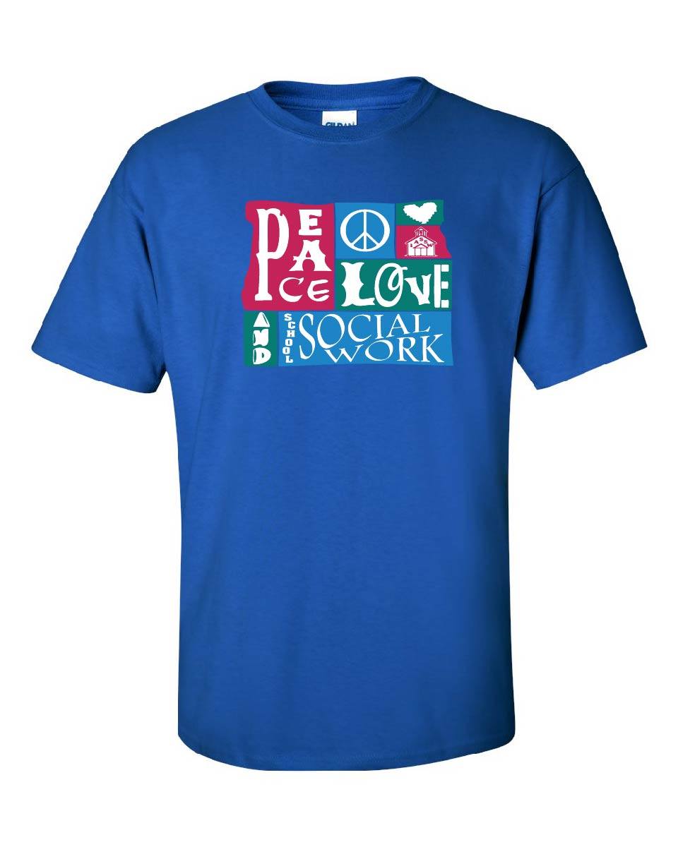 Peace Love and School Social Work Royal T-Shirt